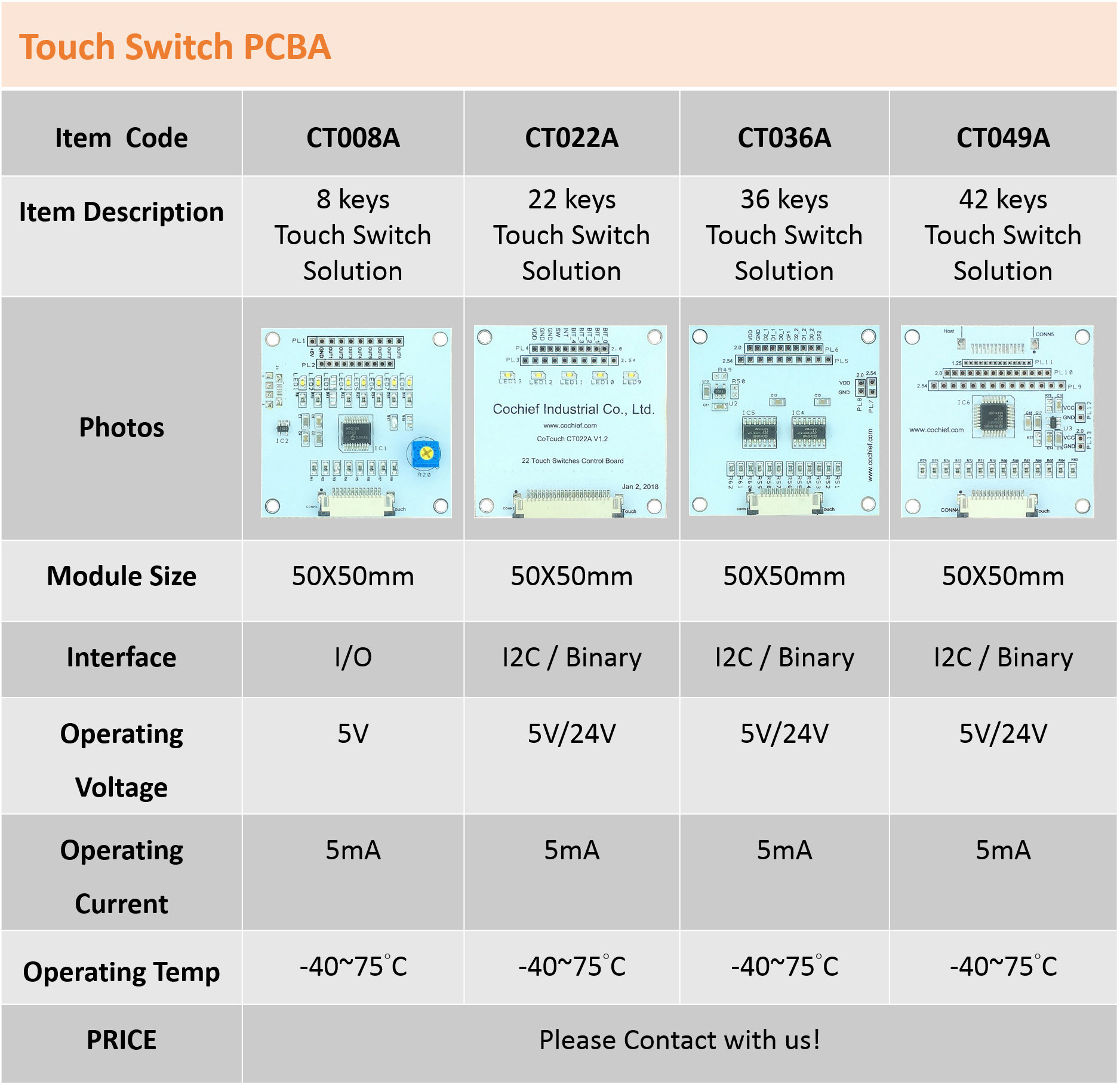 Touch Switch PCBA